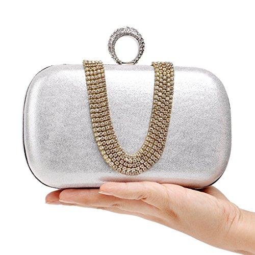 da di forma da Nero di piccola a a Fashion forma pranzo sera U Squisita Fly Evening Banquet Borsa Diamond Bag Lady Colore borsa trapano mano Argento Borsa YfwqRA06