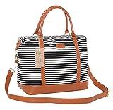 Ulgoo Women Travel Tote Bag Carry On Shoulder Bag Overnight Weekender Duffel in Trolley Handle (Black & White Stripe)