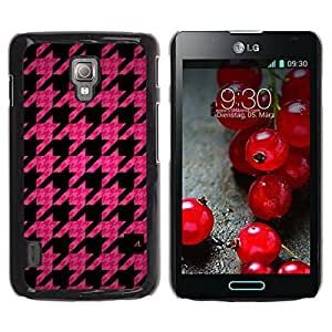 Paccase / SLIM PC / Aliminium Casa Carcasa Funda Case Cover - Leaf Pink Pattern Quilted Fashion - LG Optimus L7 II P710 / L7X P714