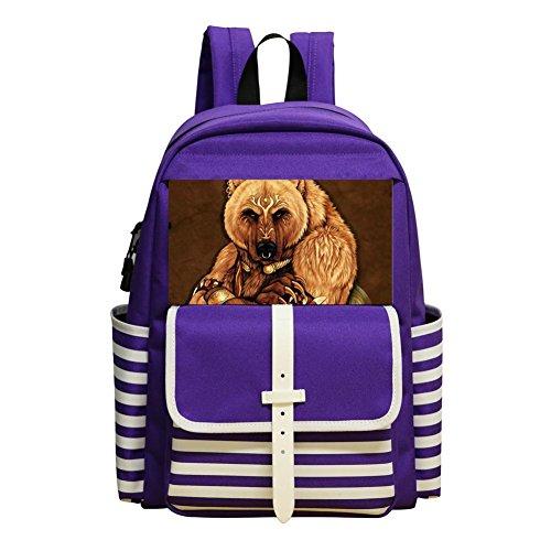 Mini School Bags For Kindergarten Boy Girl,Print Tribal Bear,Purple