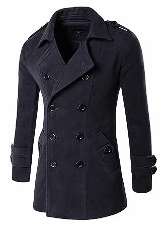 bb19af57620b Herren Seemannsjacke Zweireiher Mäntel Wolle Mischung Mens PEA Coat Kurz Tweed  Jacke Dufflecoat Cabanjacke  Amazon.de  Bekleidung