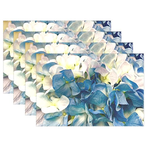 ENEVOTX Hydrangea Blue White Flower Bloom Blossom Plant Placemats Set Of 4 Heat Insulation Stain Resistant For Dining Table Durable Non-slip Kitchen Table Place Mats ()