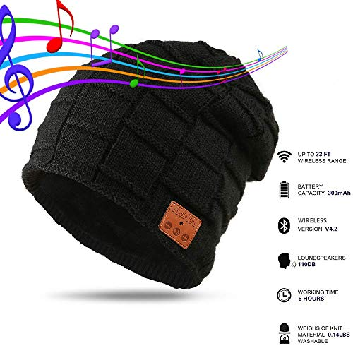 Pardecor Unisex Beanie Hat with Headphones Speaker, Wireless Headset Earphone Winter Knitted Cap with Stereo Mic, Unique Tech for Women Men Teen Boy Girls (Tunes Teen)
