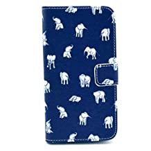 SuperMore YX Excellent Pattern Holster for IPhone5S IPhone 5S 5 5G IPhone5 with PU and TPU inside Cover Magic Button Holder Stander Card hole Protective Phone Case - Blue many Elephants