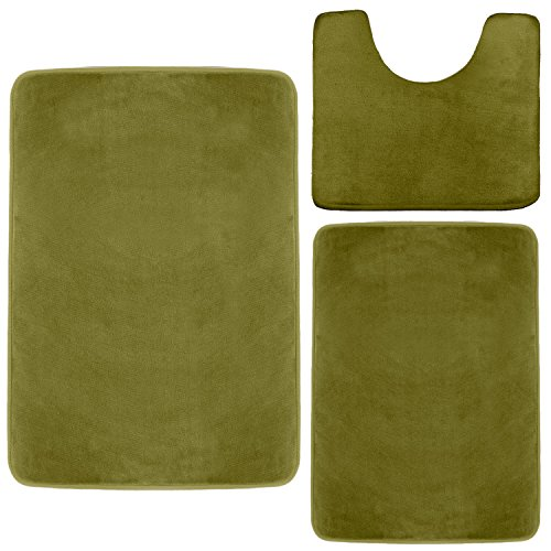 Clara Clark Memory Foam Bath Mat, Ultra Soft Non Slip and Absorbent Bathroom Rug. - Sage Green, Set of 3 - Small/Large/Contour