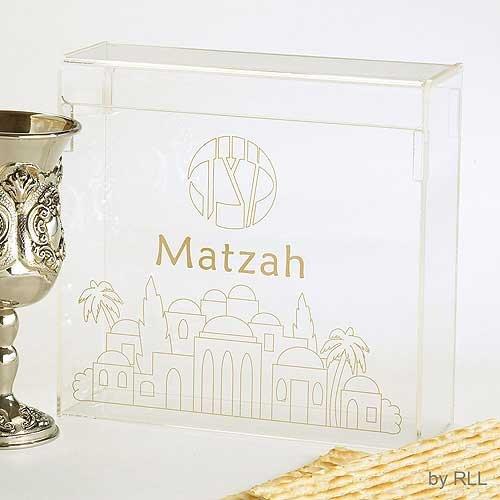 - Lucite Matzah Box - Jerusalem
