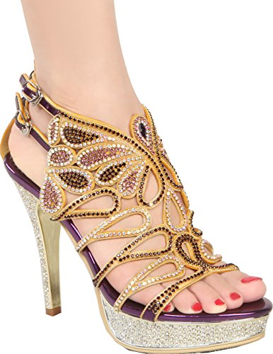 Abby GSL045 Womens Unique Sexy Sparkle Wedding Bride Bridesmaid Party Prom Shown Dress Platform Heeled Leather Sandals Purple laCRWN