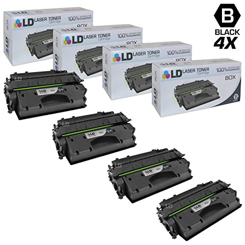 LD © Compatible Replacements for Hewlett Packard CF280X (HP 80X) 4PK HY Black Toner Cartridges for Laserjet Pro 400 M401dn, 400 M401dne, 400 M401dw, 400 M401n & 400 M425dn