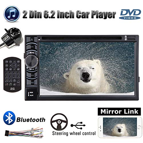6.2inch Double 2 Din Car Stereo with Backup Camera for Chevy Avalanche 2007-2012, CD DVD Player/Bluetooth/Mirror Link/Steering Wheel Control/AM FM Radio Receiver