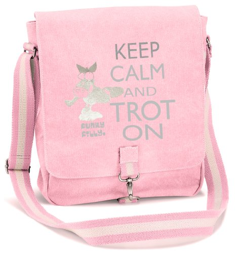 Funky Filly Pony Girls Keep Calm Trot on Vintage Canvas Messenger School Bag Pink Size 34 x 29 x 10 cms