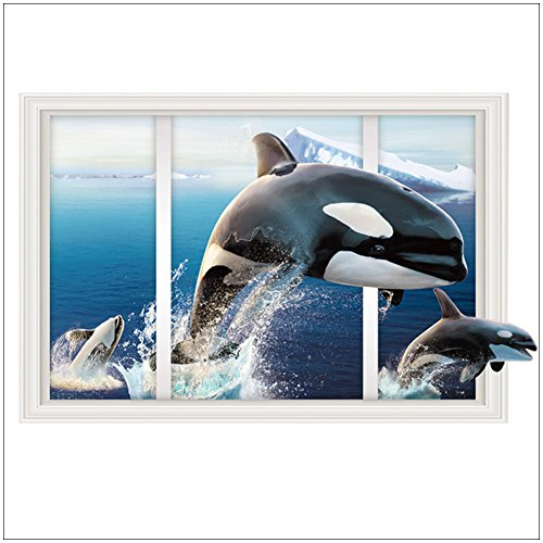 Whale Mural (Aibote 3D Wall Decal Whale Mural Home Window Ceiling Decor Removable Stickers Decorations Wallpaper For Boys Girls Room Kids Bedroom Floor Walls Living Room(60x90CM))