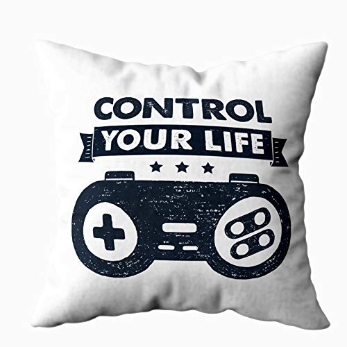TOMKEY Pink Pillow Covers, Hidden Zippered 16X16Inch Themed Badge Textured Control Your Life Inspirational Gamepad Decorative Throw Cotton Pillow Case Cushion Cover for Home Decor ()