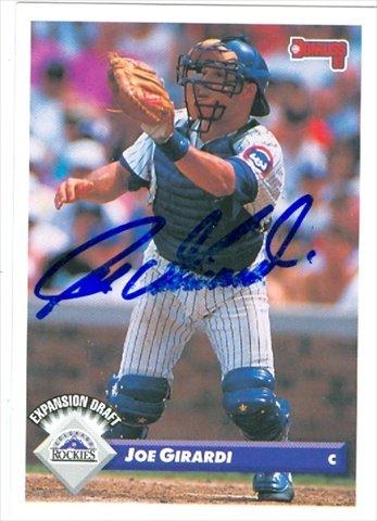 (Autograph Warehouse 30264 Joe Girardi Autographed Baseball Card Colorado Rockies 1993 Donruss No.)
