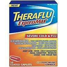 Theraflu Express Max Severe Cold & Flu Warming Relief Formula Coated Caplets, 20 Count