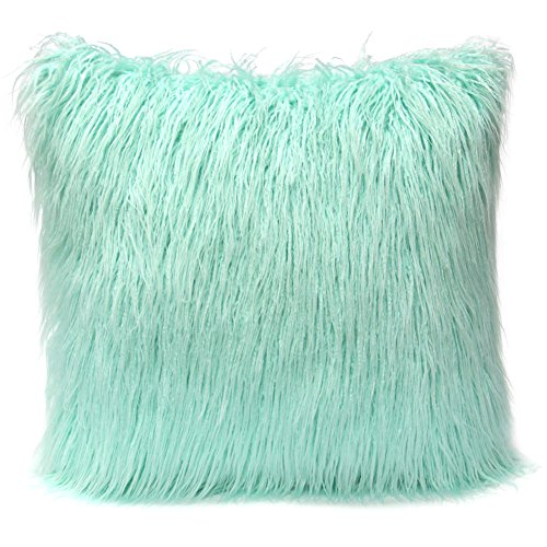 Play Tailor Faux Fur Pillow Cover, Plush Pillowcase 18 18 Super Soft for Home Sofa Couch Decoration (Light Green)