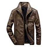 Men's Slim Casual Thin Lightweight Jacket Classic Faux Leather Laydown Collar Jacket