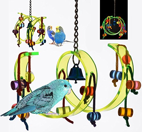 Acrylic Activity Play Tunnel Small Bird Toy with Jingle Bell by Avianweb by Avianweb (Image #1)