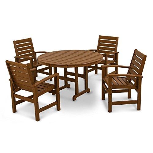 POLYWOOD PWS152-1-TE Signature 5-Piece Dining Set, Teak