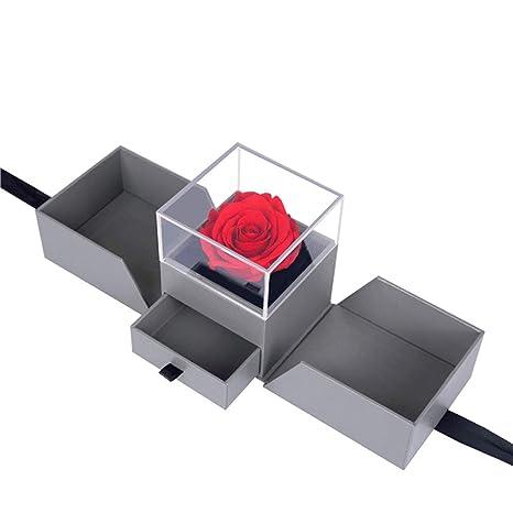 Flores Inmortales Caja de joyas de rosas preservadas Flores ...
