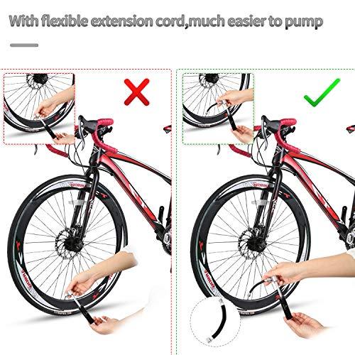ioutdoor - Mini Pompa Portatile per Bicicletta, 120PSI, Pompa a Mano con Aghi a Sfera, Supporto per Telaio e Tubo di Prolunga per Bici da Corsa, Mountain Bike, Calcio, Basket (Nero)