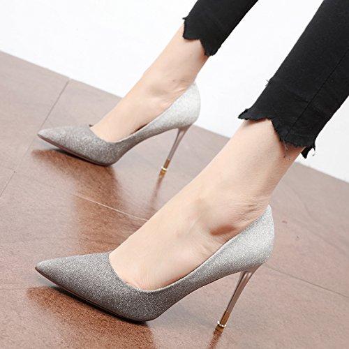 FLYRCX Una manera simple de estilo europeo de la personalidad única de cambio gradual Zapato Zapato única Dama temperamento parte tacones altos C