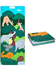 TOPLUS Kids Yoga Mat - Foldable Exercise Mat, Yoga for Kids with Fun Prints Double Sided, Eco-Friendly, Non-Toxic, Non-Slip, Best Gift for Babies, Active & Calm Toddlers and Young Children