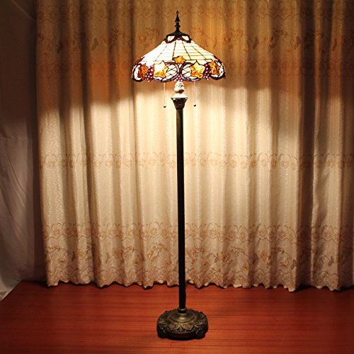 ALUS- 16 inch Tiffany warm yellow wild European retro living room bedroom den handmade glass floor lamp outlet - Outlet Village