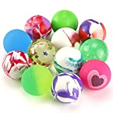 Pllieay 12 Pieces Mixed Colour Jet Bouncy Balls 25mm Party Bag Filler for Children