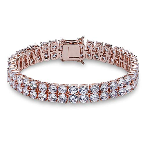 Gold Chains Bracelets Diamond - JINAO 2 Rows AAA Gold Silver Iced Out Tennis Bling Lab Simulated Diamond Bracelet 8'' 7'' (Rose Gold 8'')
