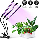 30W Plant Grow Light with Auto Turn On Function, ELECHOK 60 LED Grow Lamp with 3/6/12H Timer, 3-Head Divide Control Adjustable Gooseneck Function, 5 Lightness Adjustment [Newest Upgraded Switch]