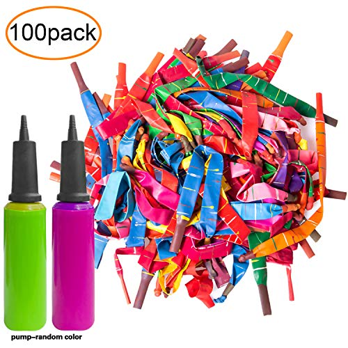 100pcs Rocket Balloons with Two Free Air Pump. Giant Rocket Balloons to Whistle. Various Bright color of Rocket Balloons Refill