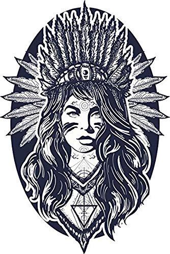 EW Designs Pretty Tribal Native American Princess with Headdress Icon Vinyl Decal Bumper Sticker (8