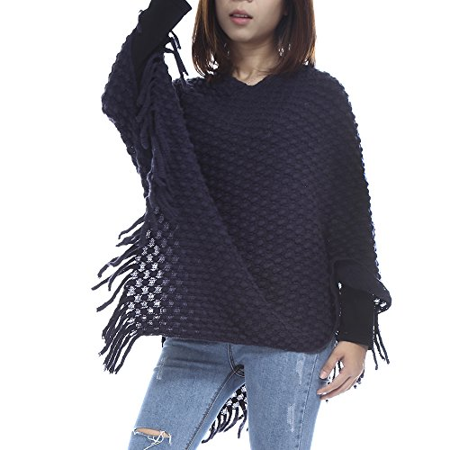 86 York Womens Softie Bubble Knit Fringed Poncho Sweater Navy Blue
