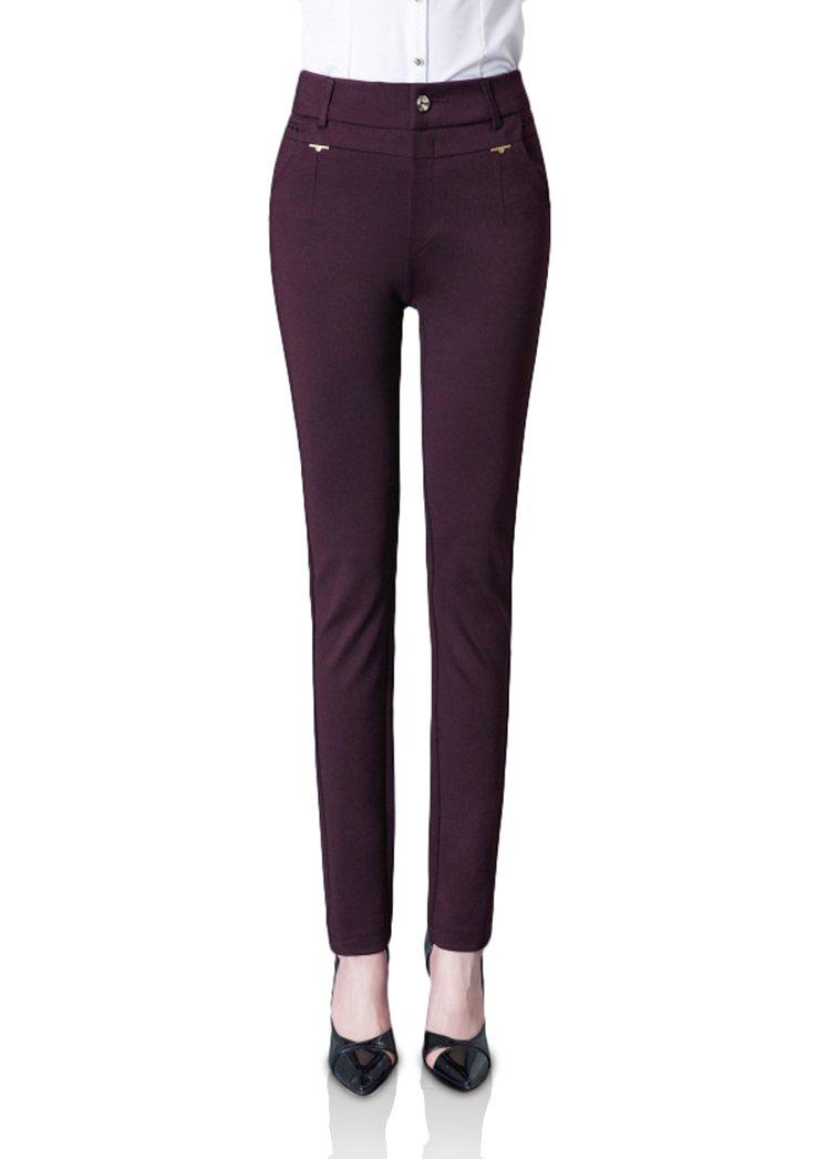 Smibra Womens Stretch Slim High Waist Flat Front Office Wear Long Pencil Pants
