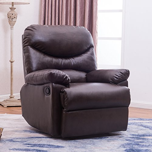 (Belleze Recliner Living Room Chair Faux Leather Lounge Padded Armrest (Brown) )