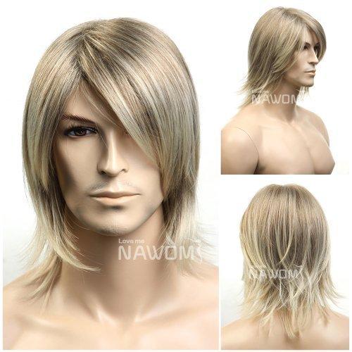 SureWells Medium style Straight Men Wig,Golden Blonde color -