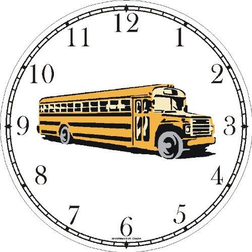 Yellow School Bus No.1 Wall Clock by WatchBuddy Timepieces (Hunter Green Frame)