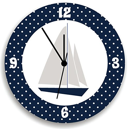 Sail Boat Nursery Wall Clock with White Polka Dots, Nautical Boys Bedroom Wall Clock, Special Gift to Baby Sea Lover, Sailor Wall Clock