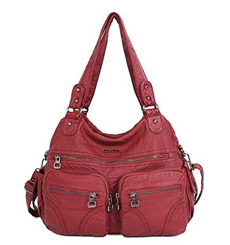 Loisir Lavé Sac en à Main Imperméable Rétro rouge 6 Cuir Femme Rouge 6qU7wx