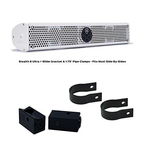 Wet Sounds Stealth 6 Ultra V2 White + UTV Mounting Kit, Slider Bracket and Round 1.75
