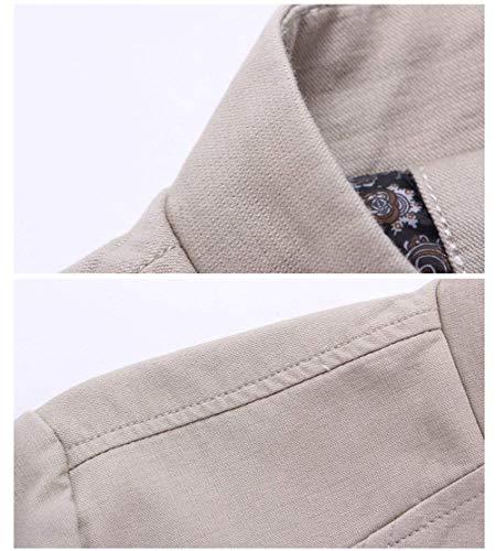 Uomo Uomo Manica Dunkelblau per Tasche Leggera Casual Cotone Cotone Cotone Laterali Zip Giacca Libero Moderna Tempo Il Lunga HaiDean in Uomo da Casual da Full Casual qnEww6RxBf