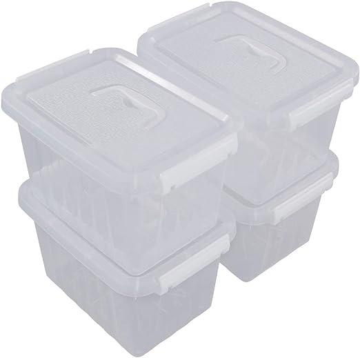 Dynko Cajas de Plástico Transparente con Tapas, Juego de 4 Caja de Almacenaje: Amazon.es: Hogar