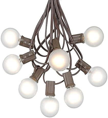 G40 Patio String Lights with 25 Frosted Globe Bulbs – Hanging Garden String Lights – Vintage Backyard Patio Lights – Outdoor String Lights – Market Cafe String Lights – Brown Wire – 25 Foot