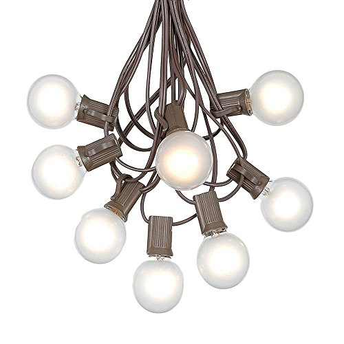 G40 Patio String Lights with 125 Frosted Globe Bulbs - Hanging Garden String Lights - Vintage Backyard Patio Lights - Outdoor String Lights - Market Cafe String Lights - Brown Wire - 100 Foot (Lights String Frosted)