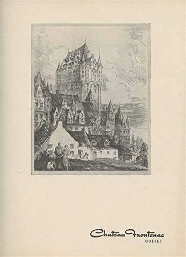 (Chateau Frontenac Lunch Menu 1955 Quebec Canadian Pacific Hotel)