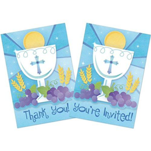 First Wheat Cross Communion - First Communion Blue Invitation and Thank You Cards with Envelopes