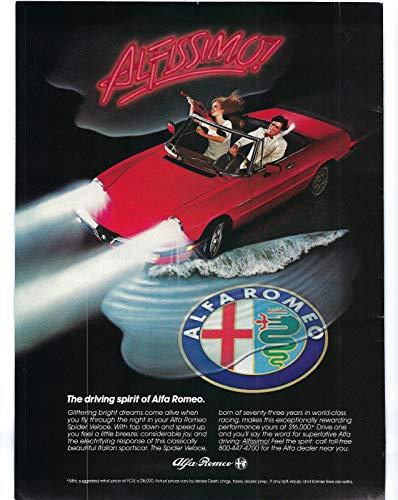 (1984 Vintage Print Ad for Alfa Romeo Spider Veloce   Alfissimo Driving Spirit)