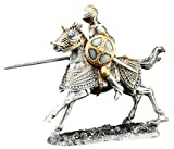 Pewter Knight on Horse Jousting Statue Figurine Collection