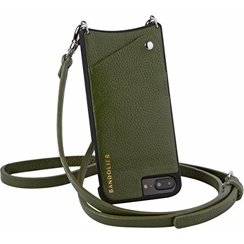 Bandolier [Emma] Phone Case for iPhone 8, iPhone 7, iPhone 6 - Cactus Green Leather & Silver Hardware + Credit Card Holder Slot to Carry Phone Handsfree for Drop Protection. Adjustable Length Strap.