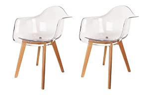 Meubletmoi –Juego de 2sillones Transparentes–diseño escandinavo–pies de Madera Haya Maciza–Robuste–Lidy